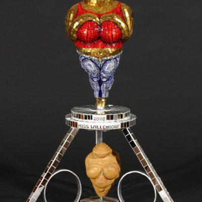 "Karen Kettering Dimit, ""Miss Willendorf 2008"", 35"" x 22"" x 22"", smalti, stone, rhinestones, hardware, mirror, metal"