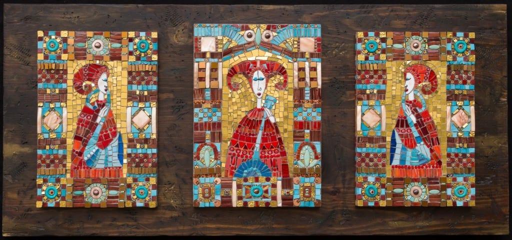 "Irina Charny Byzantine Trio 2014 H 16.00"" W 35.00"" D 1.00"" Glass, gold, porcelain, beads, millefiori on wood panel"