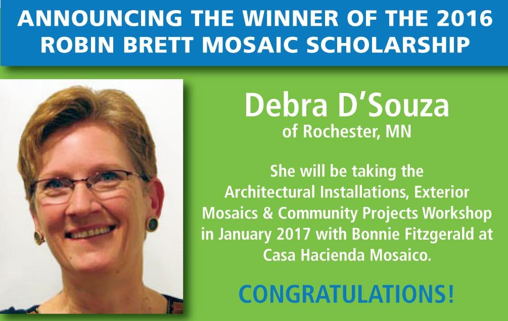 2016 Robin Brett Mosaic Scholar, Debra D'Souza