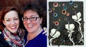 "Erin Pankratz-Smith and Kelley Knickerbocker with their 2014 collaborative work ""Strata Collaborata"""