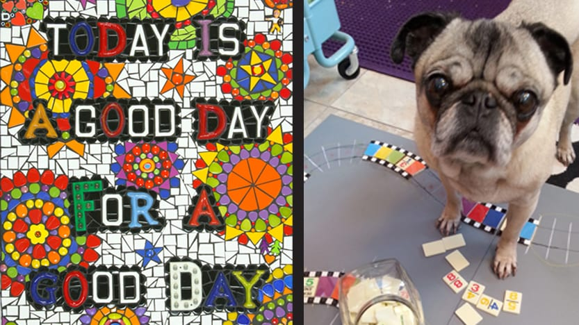 "Left: Good Day by Krystie Rose Millich, 2016. H18""x W23""x D1"". Ceramic tiles, glass tiles and objects, beads, ceramic and vintage letters, found objects. Installed in a private residence. Photo: Brian Birlauf. Right: Studio Pug, Buster Brown, helping with Children's Hospital commission, 2014. Photo: Krystie Rose Millich."