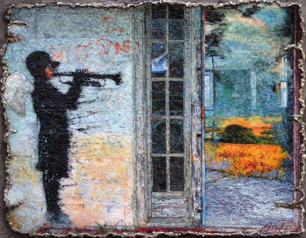 """Mosaic Arts International 2016: BEST IN SHOW Atsuko Laskaris Millennium 2015 H 22.50"""" W 27.50"""" D 2.50"""" Stained glass"""