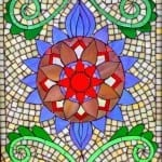 One section of a mosaic window using precision cutting.