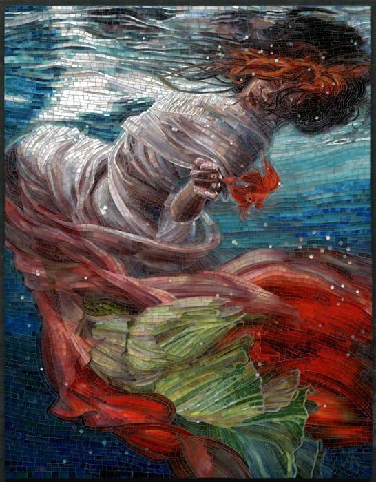 "2016 Member's Choice Winner! Batyam 2015 Mia Tavonatti Santa Ana, CA H 41.00"" W 32.00"" D 2.00"" Stained glass mosaic on panel, grouted"