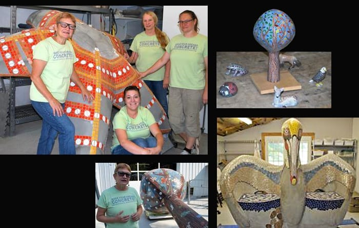 "Clockwise from upper left: Surrounding a partially completed starfish going to a children's hospital (from left) are: Sherri Warner Hunter, Heather Dupre, Janet Cataldo, and Tiffany Cataldo. Model representation of the Memphis project. Friendly pelican with seats for children. Hunter discussing the mosaic ""tree"" headed to Memphis. Photos by Jason Reynolds."