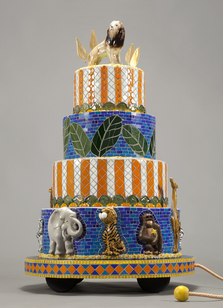 Ruth Tyszka, Little Leo\'s Big Birthday, 2013, sculpture of glass and repurposed objects on polystyrene and wood