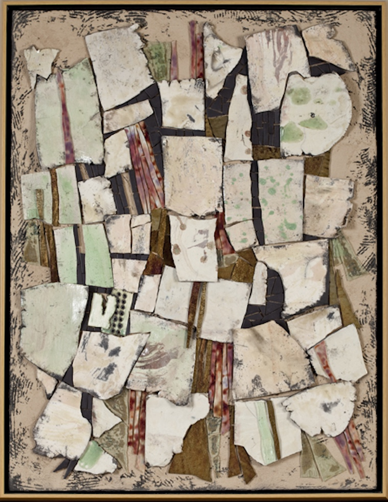 Rhonda Heisler, Aftermath, 2012; raku-fired tile, matte-finish ceramic tile, handcut opaque stained glass, on textured substrate