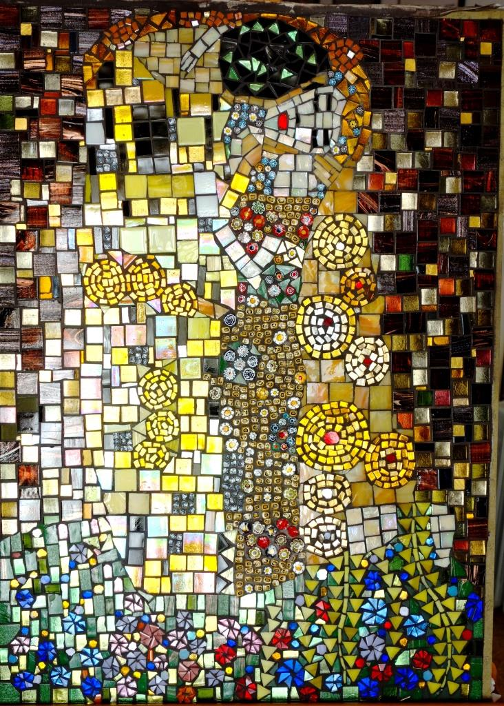 Brigitte MESSALI, the KISS,2014,glass tiles,vitreous,millefiori