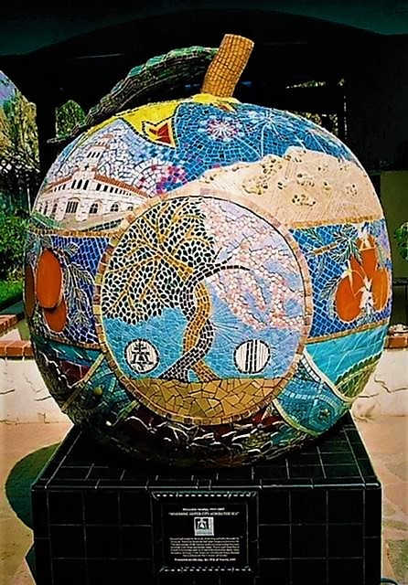 Cathy Maxwell, in collaboration with Greg Maxwell, Riverside: Sister City Across the Sea at the Sendai International Center, Sendai, Japan, 2007, ceramic, stone, marble, glass