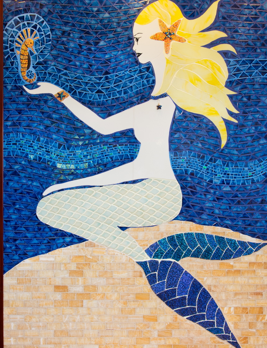 "Leilani Pacheco-Datta, ""Shiva & Siren\"", 2016, Ceramic tile, Dichroic (fused), yellow onyx, stained glass,"