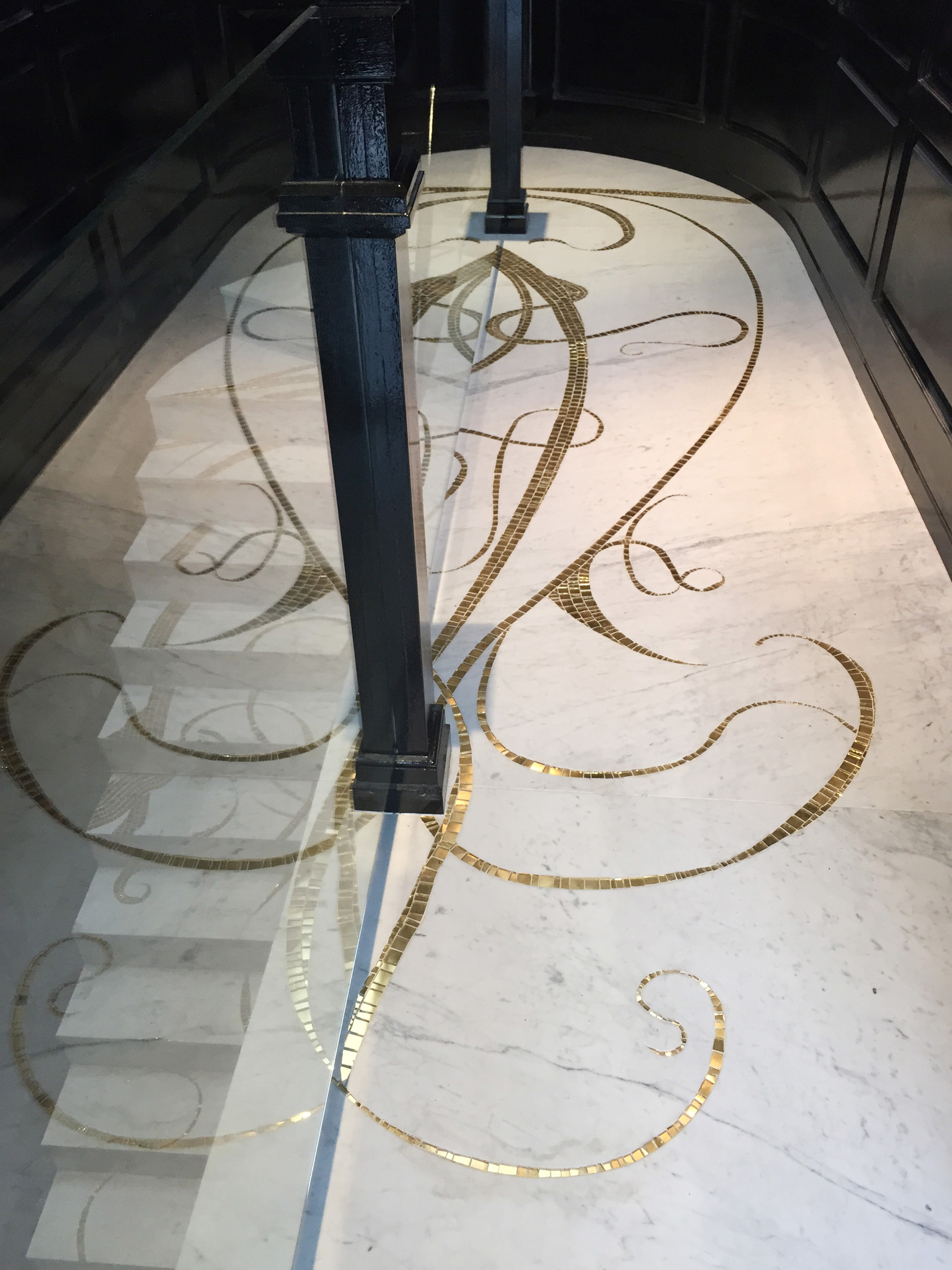 Cathleen Newsham, SOHO Penthouse Floor, 2015, Marble and gold tile floor mosaic