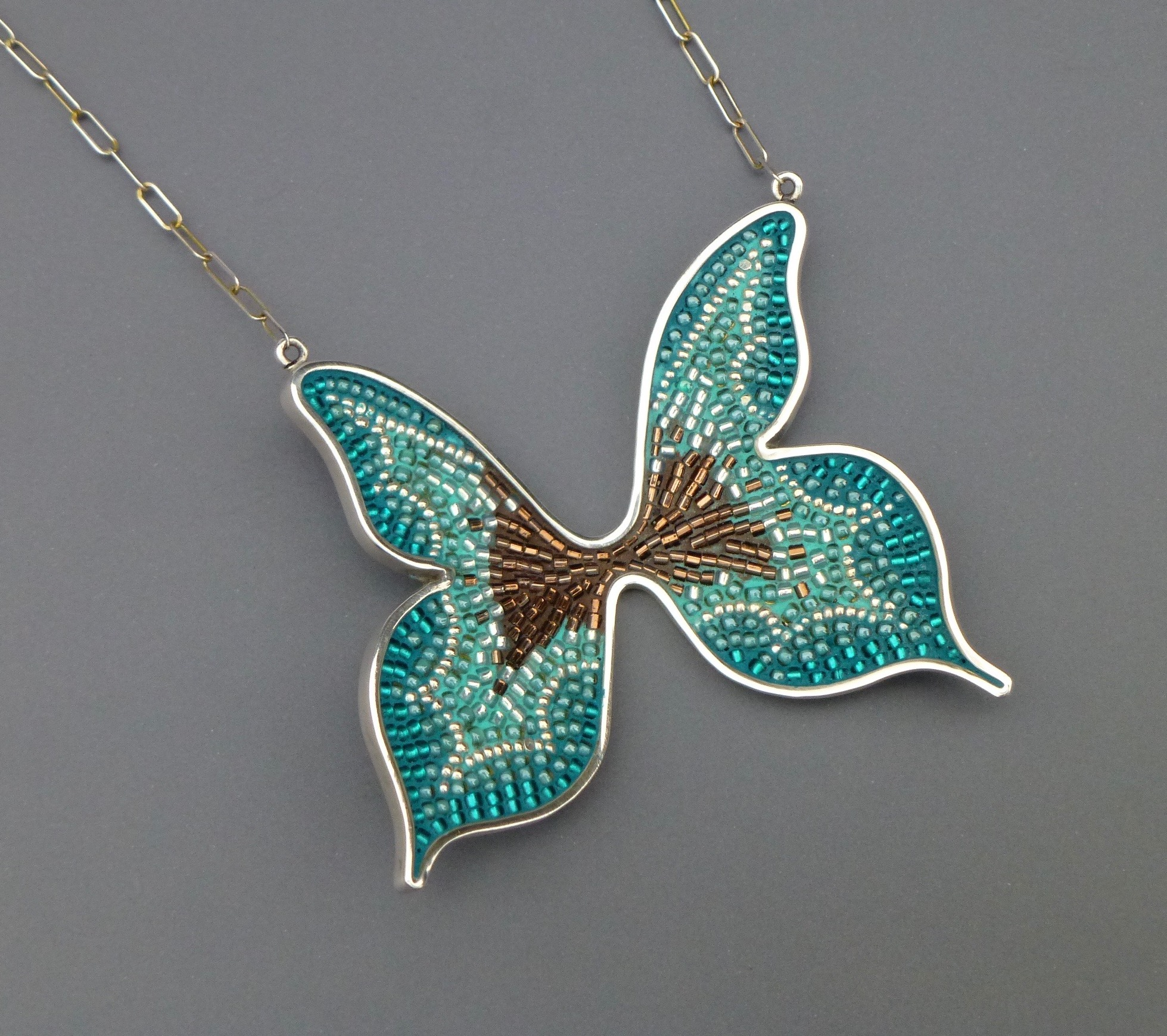 Courtney Denise Lipson, Butterfly Pendant, sterling silver pendant with micro-mosaic