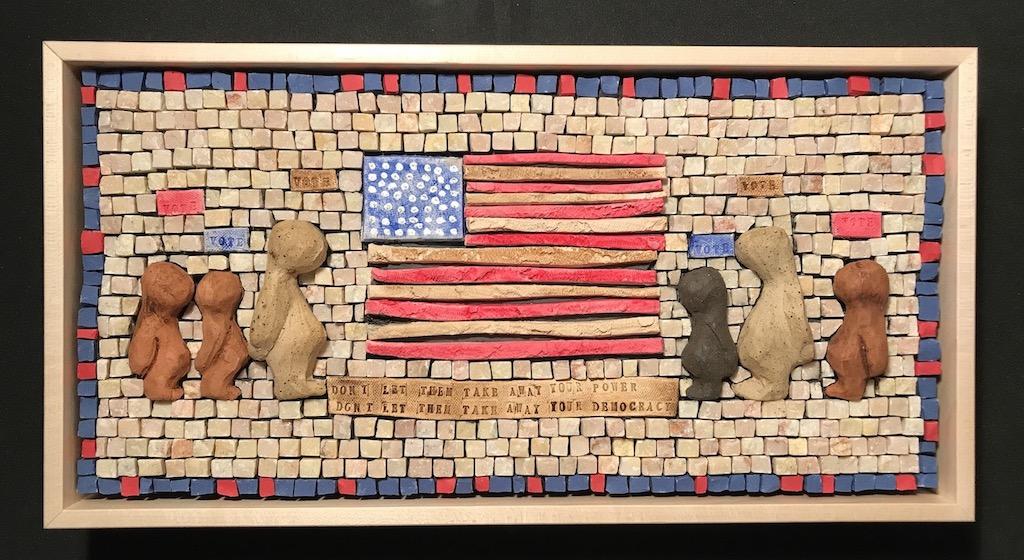 Bonnie Fitzgerald, Plan Your Vote, 2020, hand-built ceramic, stone, Latovi stone.