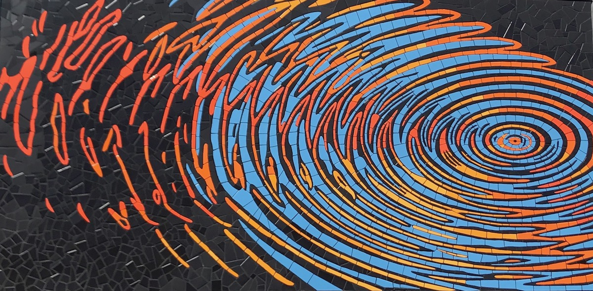Rochelle Schueler, Ripple Effect, 2018, high-fired ceramic tile