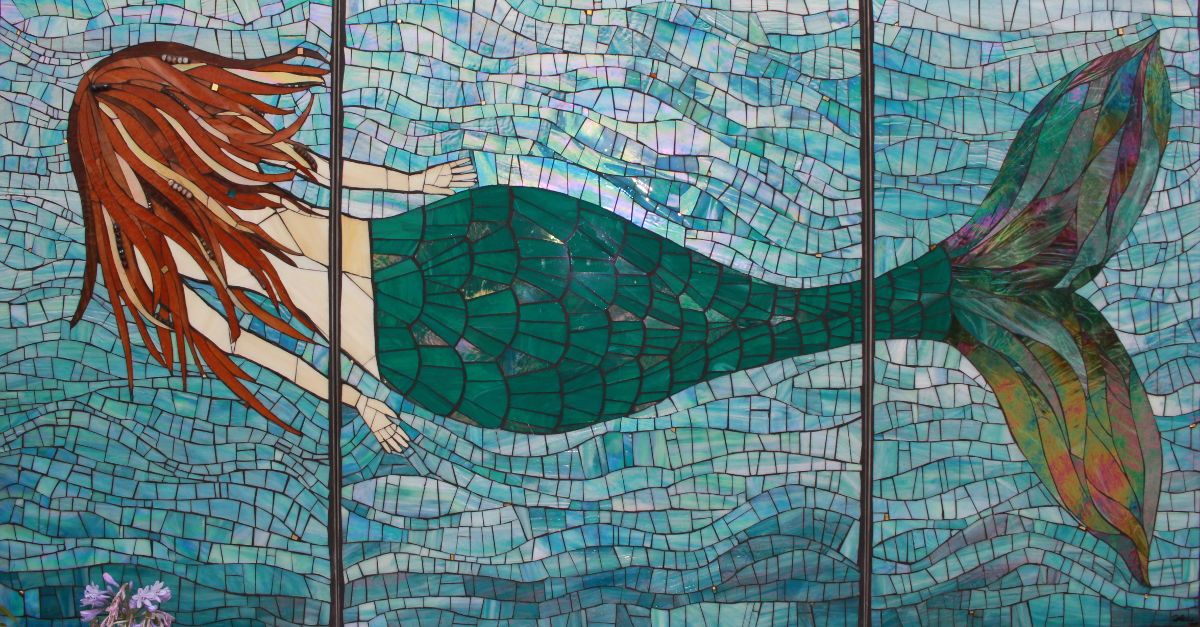 The Mermaid Tami Macala 2015  Stained glass, beads, Wedi board substrate, cement grout.