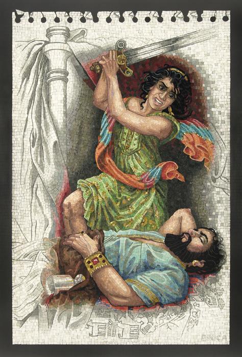 Lilian Broca, Judith\'s Revenge, 2015, smalti, gold, ceramic tile