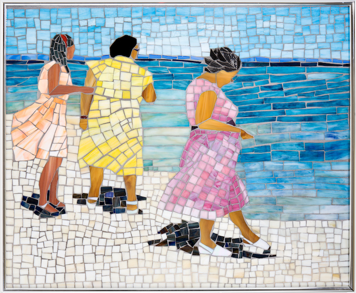 Karen Guyot Cheval, Mississippi Beach 1942, 2014, stained glass