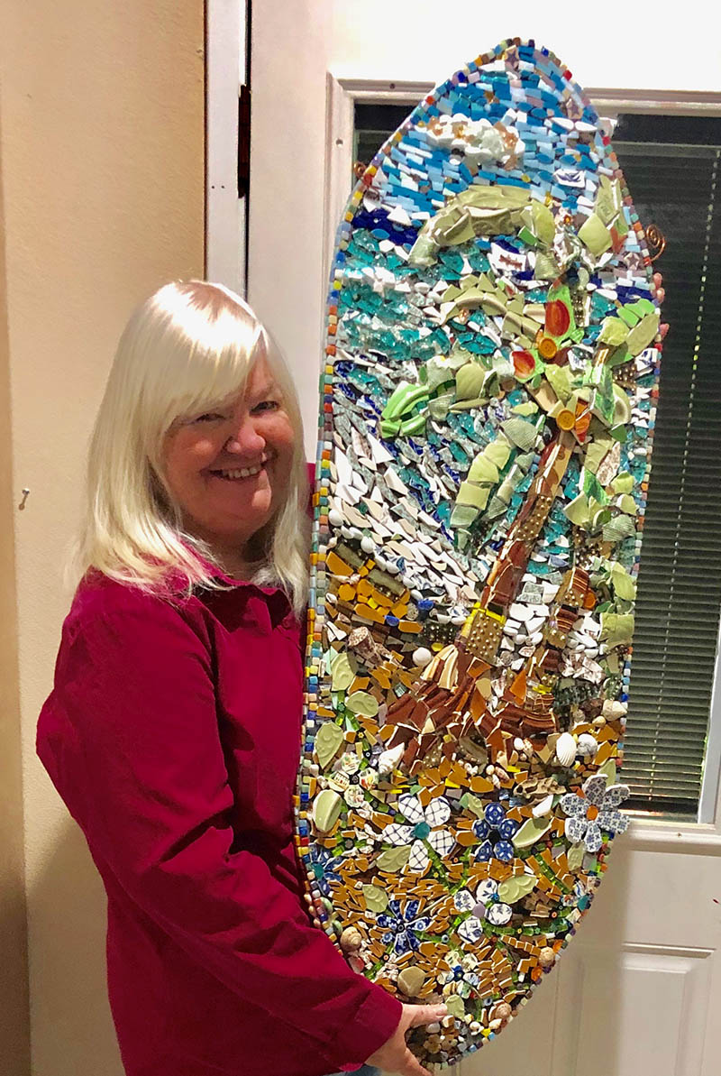 Karen Kingsbury, Palms by the Sea, 2018, pique assiette