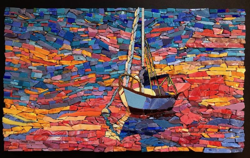 Michelle Sider, Sunset Sailboat, 2019, smalti