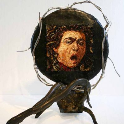 "Karen Kettering Dimit, ""Medusa (after Caravaggio)"", 42"" x 36"" x 40"", mosaic smalti, birch, resin, metal, mirror"