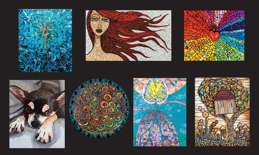 Artists- clockwise from upper left: Cherie Bosela, Jacki Gran, Krystie Rose Millich, Chris Emmert, Pamela Goode, Susan Crocenzi, Donna Van Hooser